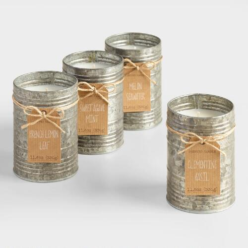 Galvanized Antique Candle Tin Collection