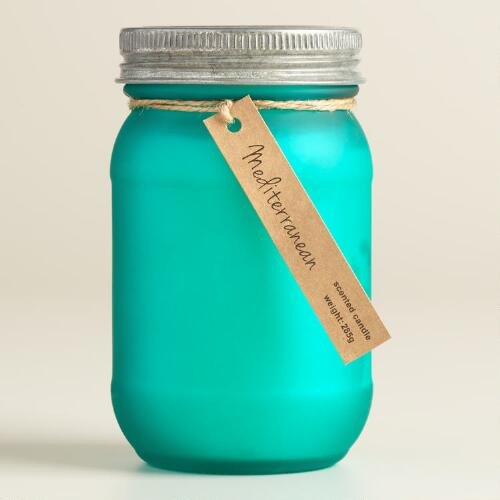 Turquoise Frosted Mason Mediterranean Candle