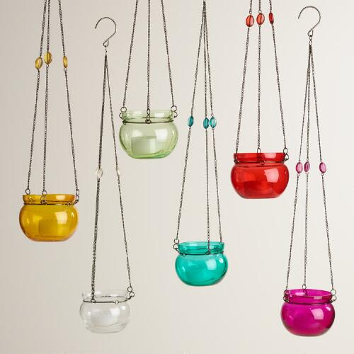 Glass Bubble Hanging Tealight Lanterns Set of 6