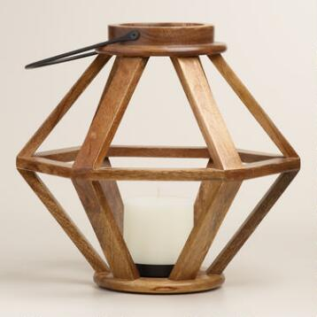 Hexagonal Mango Wood Lantern
