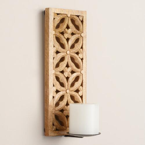 Natural Carved Mango Wood Sconce