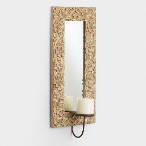 Natural and Gold Carved Wood Sconce