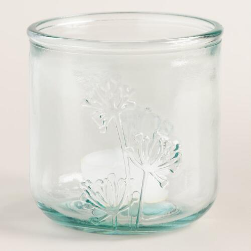 Recycled Glass Floral Tealight Candleholders Set of 2