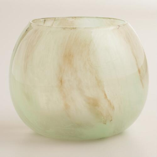 Mint and Brown Seascape Round Votive Holder