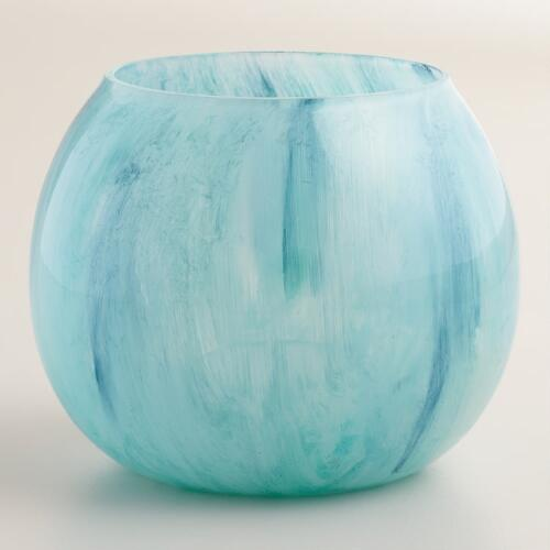 Blue Seascape Round Votive Holder