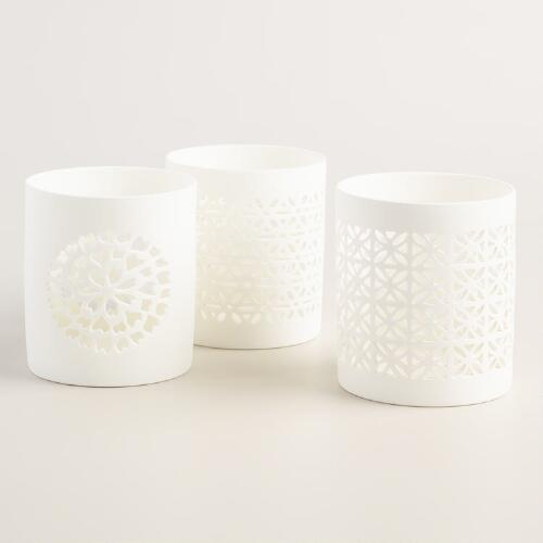 White Ceramic Cutout Candle Holder Set of 3