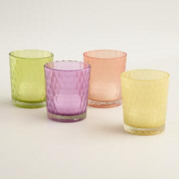 Honeycomb Glass Votive Holders Set of 4