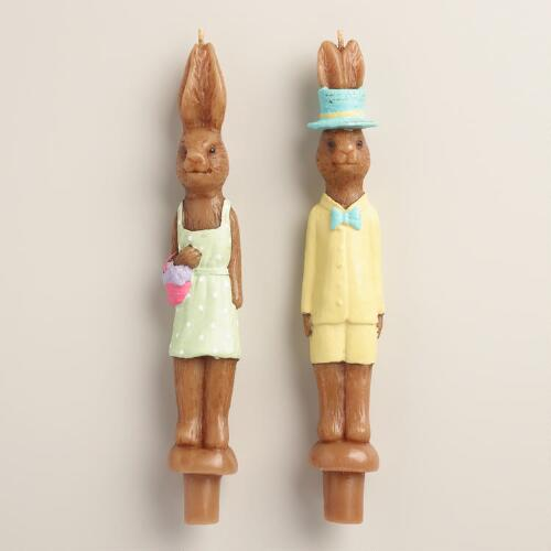 Boy and Girl Bunny Tapers Set of 2
