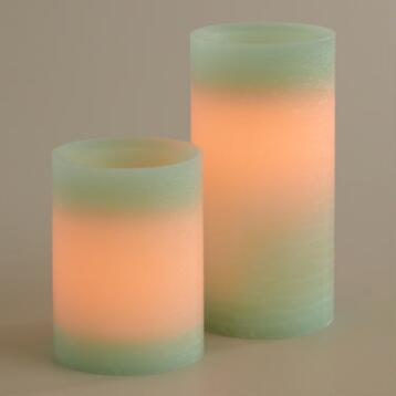 Rustic Aqua Flameless LED Candle