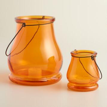 Orange Glass Teardrop Lantern Candleholder