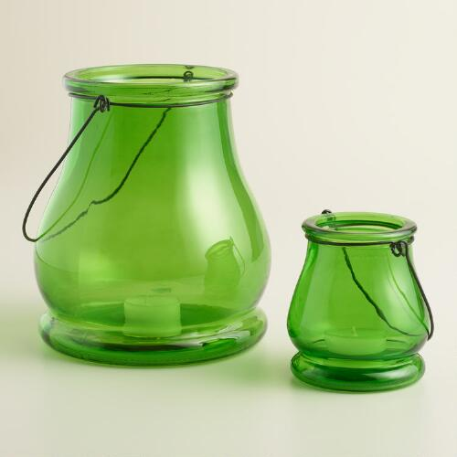 Green Glass  Teardrop Lantern Candleholder