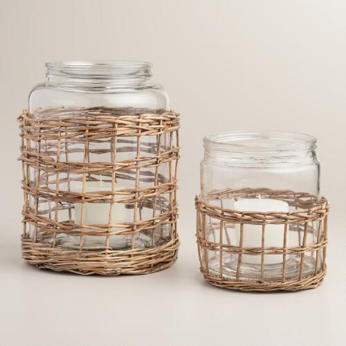Glass and Willow Hurricane Candle Lantern