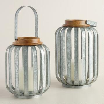 Galvanized Metal Strip Lantern