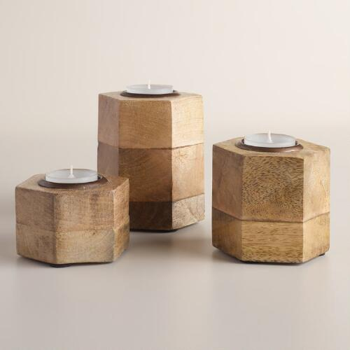 Hexagon Wood and Antique Brass Tealight holder