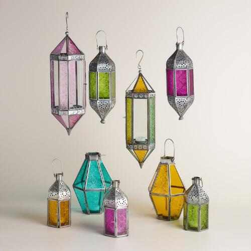 Antique Zinc and Colored Glass Raya Lantern Collection