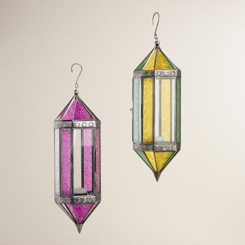 Large Colored Glass Raya Hanging Lantern