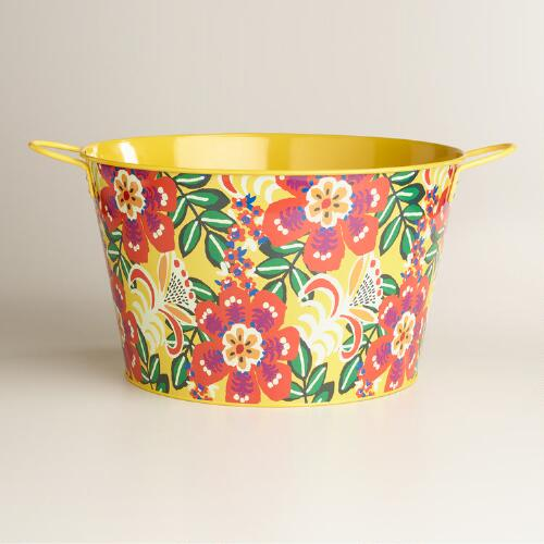 Caribbean Floral Metal Party Tub