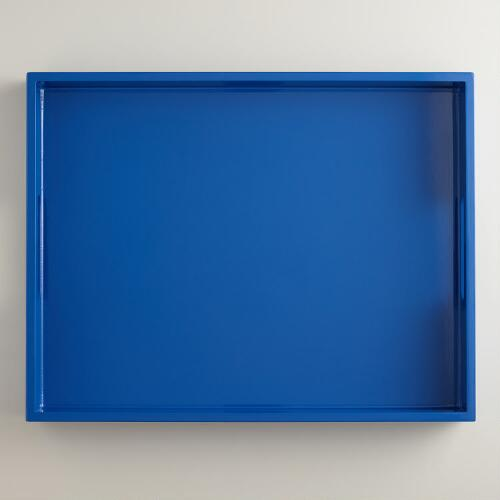 Blue Rectangular Lacquer Serving Tray