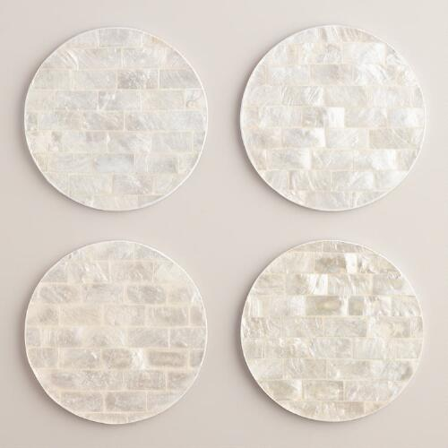 White Capiz Shell Coasters Set of 4