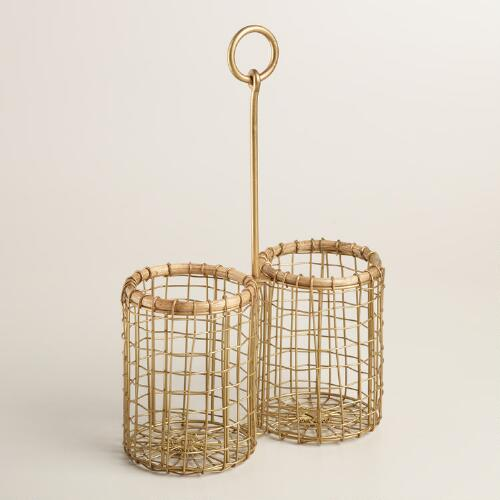 Two Bottle Wire and Bamboo Everly Drink Caddy