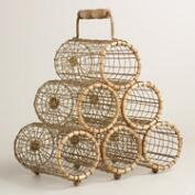Six Bottle Wire and Bamboo Everly Wine Rack