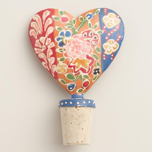 Floral Painted Heart Bottle Stopper