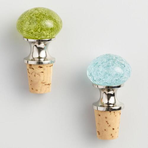 Aqua and Green Bubble Glass Wine Stoppers Set of 2