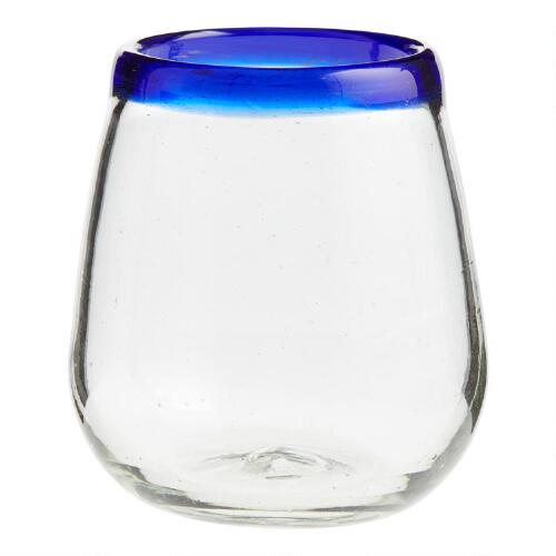 Blue Rocco Stemless Glasses Set of 4