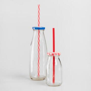 Glass Milk Bottles with Straws Set of 4