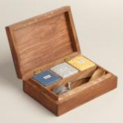 Carved Wood British Tea Gift Box Set