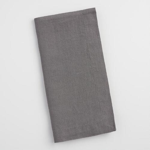 Gray 100% Linen Napkins Set of 4