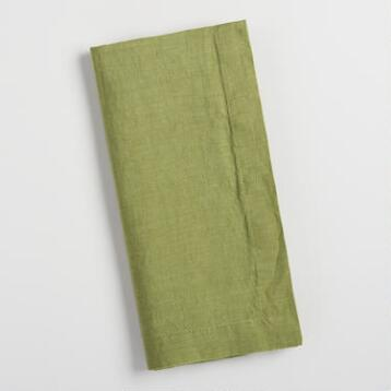 Green 100% Linen Napkins Set of 4