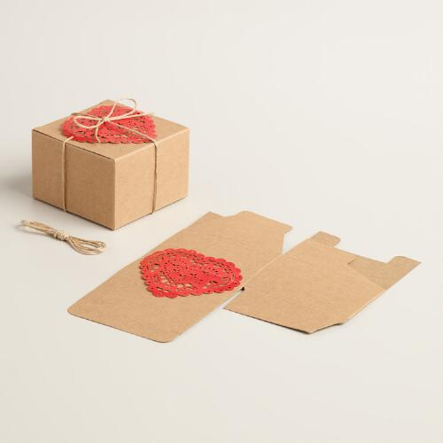 Kraft Gift Boxes with Heart Tags Set of 2
