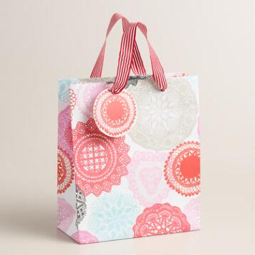 Valentines Day Doily Gift Bags Set of 2