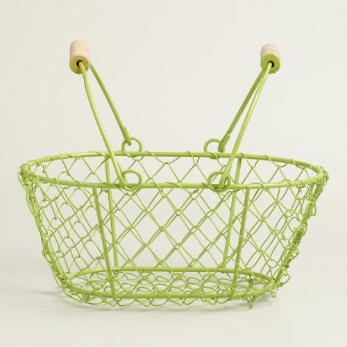 Small Green Wire Easter Baskets Set of 2