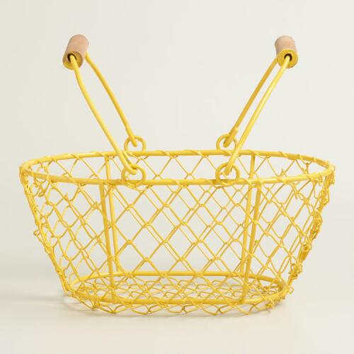 Small Yellow Wire Easter Baskets Set of 2