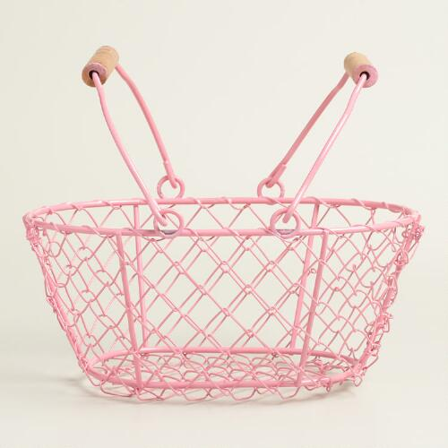 Small Pink Wire Easter Baskets Set of 2