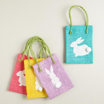 Woven Bunny Easter Gift Bags Set of 4