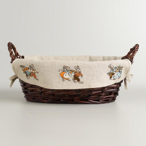 Linen Lined Willow Easter Serving Basket