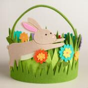 Large Oval Felt Grass Easter Basket