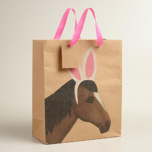 Large Horse Kraft Gift Bags Set of 2