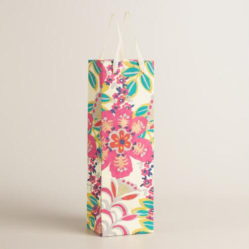White Tropical Handmade Wine Bags Set of 2