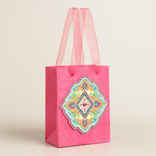 Small Fuchsia Diamond Handmade Gift Bags Set of 2