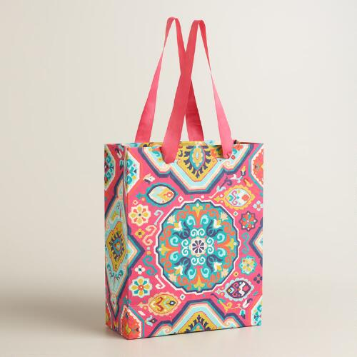 Large Bright Medallion Handmade Gift Bag