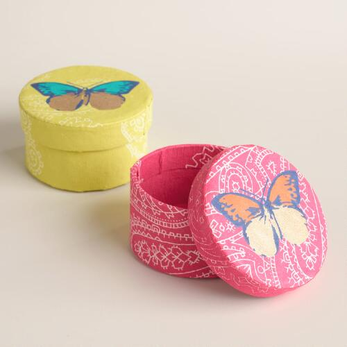 Butterfly Dots Handmade Jewelry Boxes Set of 2