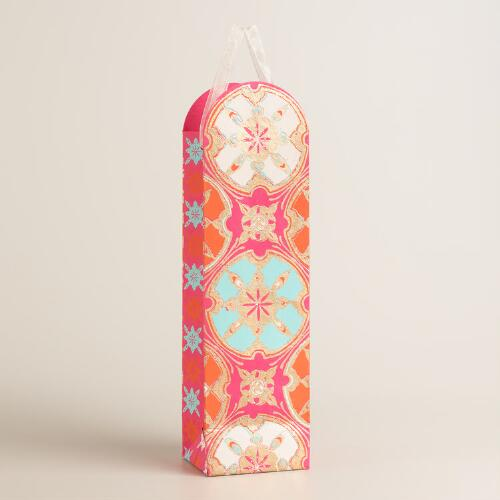 Rounded Bright Medallion Handmade Wine Bags Set of 2