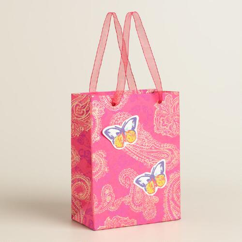 Small Butterfly and Paisley Handmade Gift Bags Set of 2