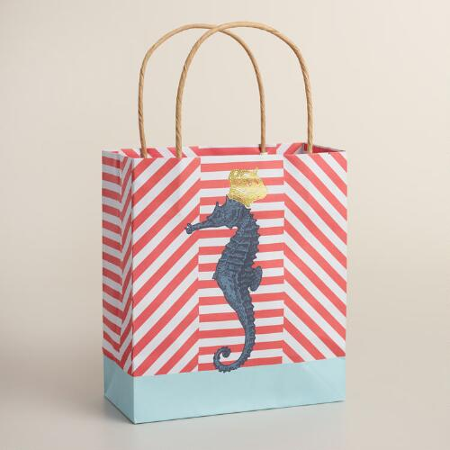 Small Crown Seahorse Kraft Gift Bags Set of 2