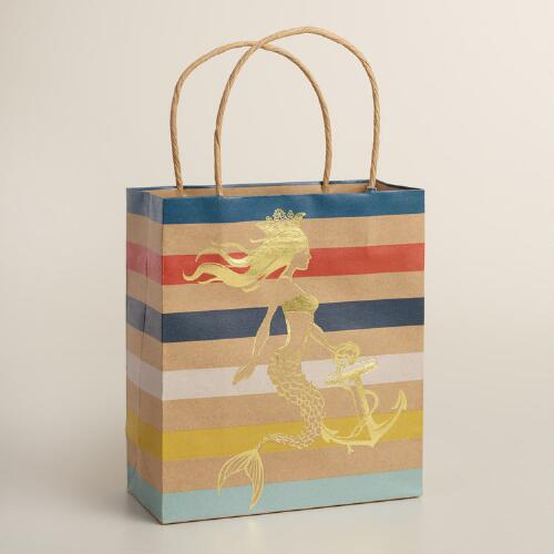 Small Stripe Mermaid Kraft Gift Bags Set of 2