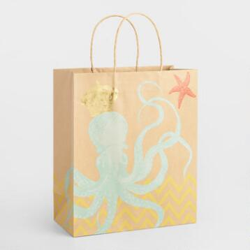 Large Chevron Octopus Kraft Gift Bags Set of 2